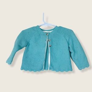 Baby Boden 3 Button Pointelle Cardigan Teal 3-6M